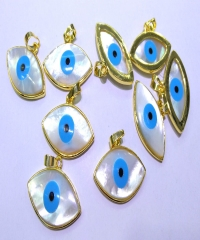 6Pcs Natura Shell Oval Blue Turkish Evil Eye Marquise Gold ring Pendants For Jewelry Making -pendant-earrings-focal