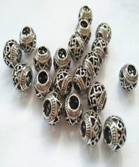 Large hole 20pcs  Filigree carved  Round Brass Seamless Beads Raw Brass 18K Gold -Solid Brass  8mm 10mm 12mm