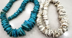 "17"" L--Bone white -Rainbow-  Blue Turquoise Magnesite Drilled slab Slice Loose Beads Jewelry,Raw Spacer Slab Beads  12-25mmNecklace"