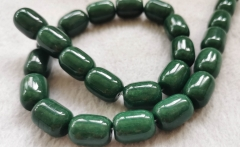 Natural  jade jewelry barrel drum rice 8-10mm  loose beads Amber-green-cherry -pink-red- blue  Necklace 16inch