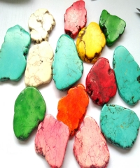 "Hot Sale--5pcs Rose Pink  Red white  Turquose,Freeform Slab Slice Howlite Beads,Magnesite Spacer Pendant Accessories Jewelry 20-100mm(4"")"