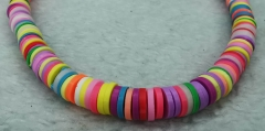 High Quality  Heishi Bead, pastel African Vinyl Disc Connector Rainbow  Recycled Phono Records from Ghana  Vulcanite Heishi Beads -Necklace