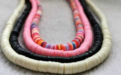 Rainbow Heishi Bead, pastel African Vinyl Disc Connector Rainbow  Recycled Phono Records from Ghana  Vulcanite Heishi Beads -Necklace