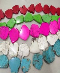 "20 to 55mm Assorted turquoise stone freeform slab nugget Magnesite  beads pendant belts focal  16"" strand"