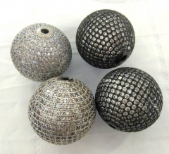 25mm to 6mm Round ball CZ micro pave Magnetic Jewelry loose beads for earrings pendant  DIY 1pcs