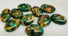 6pcs 22x30mm green Gold Copper Stone and Regalite Cabochon,Synthetic, Polished Aqua Blue Gemstone Cab, Oval, Large Focal With Gold & Bronze