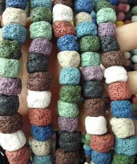 Bulk rainbow  Lava -Volcanic jewelry Bar column tube nuggets drum white Diffuser Beads 16inch - 10-14mm for earrings-pendant craft DIY