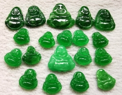 Handmade Canadian Jade Smile Buddha Carving 13-20mm bead -Natural Green Jade carving, Jade Buddha Pendant -cabochon
