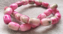 Fuchisia pink jadeite-jade jewelry barrel drum rice 13x18mm  loose beads Amber-green-cherry -pink-red- blue  Necklace 16inch